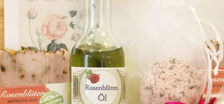 Rosenblüten – Pflegeöl, Seife, Badekugel & Co